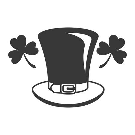 leprechaun hat with clover isolated icon vector illustration desing