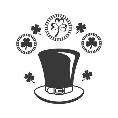 leprechaun hat with clover isolated icon vector illustration design