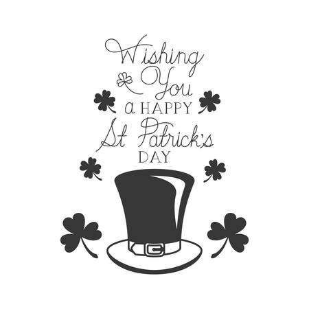 wishing you a happy st patrick`s day label icons vector illustration desing Ilustração