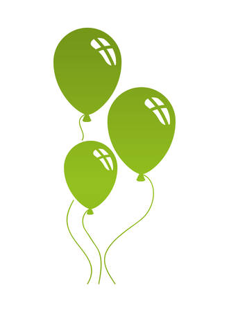 helium green balloons isolated icon vector illustration desing