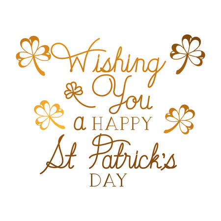 wishing you a happy st patrick`s day label icons vector illustration desing