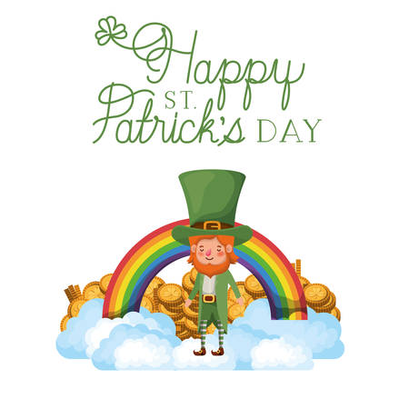 happy st patrick`s day label with leprechaun and rainbow vector illustration desing