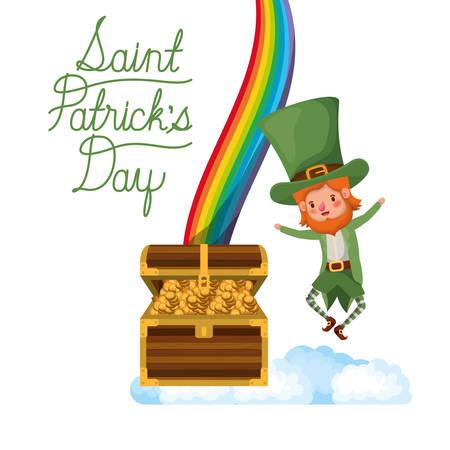 saint patricks day label with leprechaun and rainbow vector illustration desing