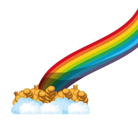rainbow with coins isolated icon vector illustration desing