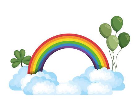 Arco iris con nubes diseño de ilustración de vector de icono aislado