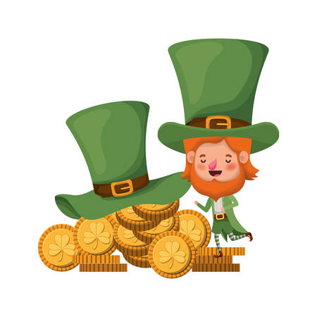 leprechaun with coins and hat isolated icon vector illustration desing