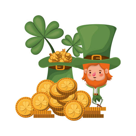 leprechaun with coins and hat isolated icon vector illustration design