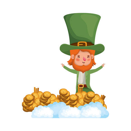 leprechaun with coin and clover isolated icon vector illustration design Illustration