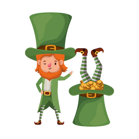 leprechauns with coins and hat isolated icon vector illustration desing