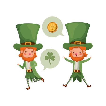 leprechauns with speech bubble avatar character vector illustration desing Illustration