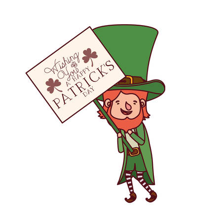 wishing you a happy st patrick`s day label with leprechaun character vector illustration desing