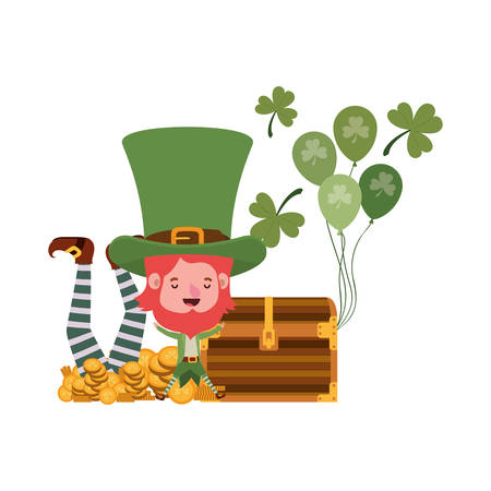 leprechauns with chest and coins character vector illustration desing