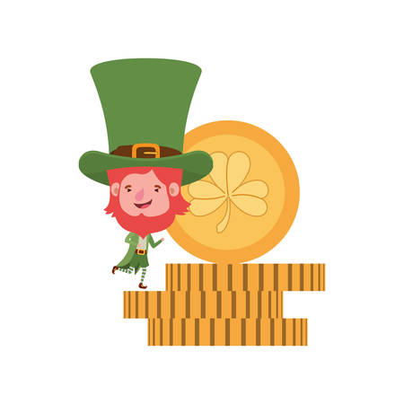leprechaun with coin and clover isolated icon vector illustration desing