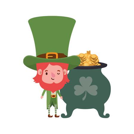 leprechaun with cauldron avatar character vector illustration desing