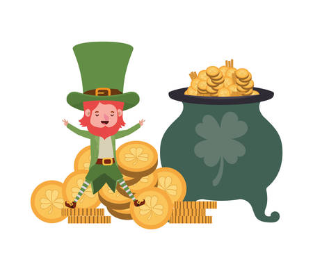 leprechaun with cauldron avatar character vector illustration desing