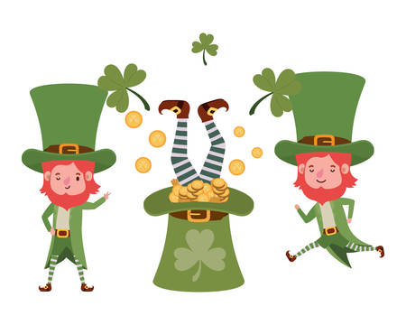 leprechauns with coins and hat isolated icon vector illustration design