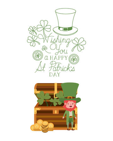 wishing you a happy st patricks day label with leprechaun character vector illustration desing
