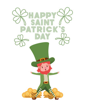 happy saint patricks day label with leprechaun character vector illustration desing Illustration