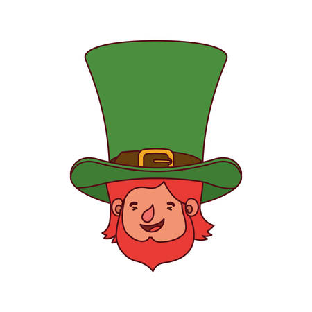 leprechaun head with hat avatar character vector illustration desing