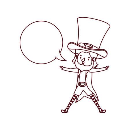 leprechaun with speech bubble avatar character vector illustration desing