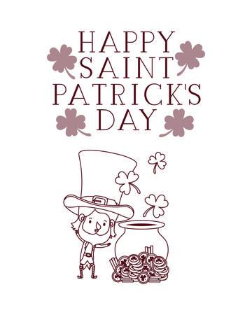 happy saint patricks day label with leprechaun character vector illustration desing Illustration