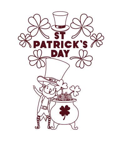 st patricks day label with leprechaun character vector illustration desing Illustration