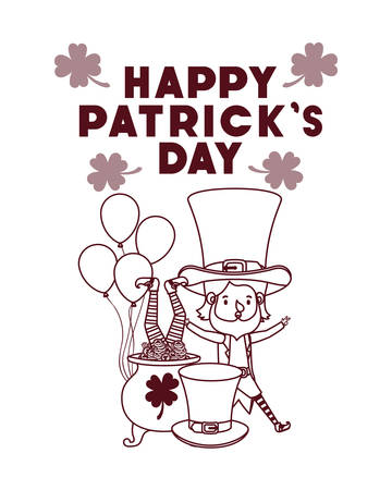 happy patricks day label with leprechauns character vector illustration desing