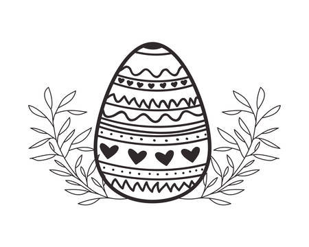 easter egg flowers and leafs isolated icon vector illustration desing 向量圖像
