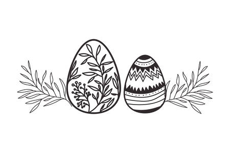 easter eggs with flowers and leafs isolated icon vector illustration desing