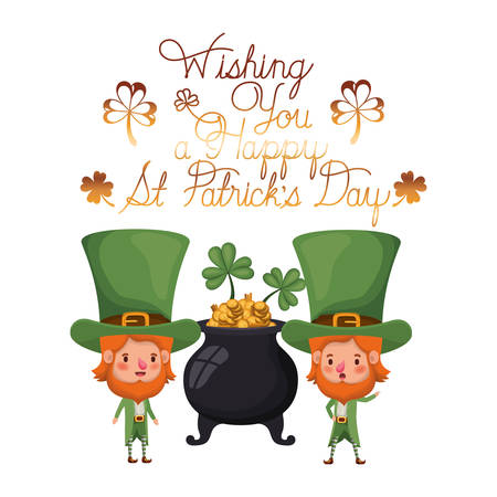 wishing you a happy st patricks day label with leprechauns character vector illustration design