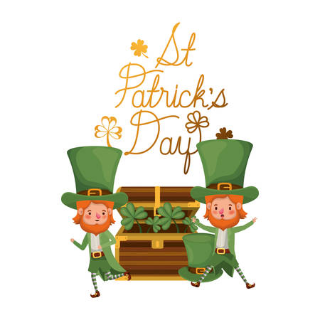 st patricks day label with leprechauns character vector illustration desing Illustration