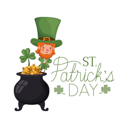 st patricks day label with leprechaun character vector illustration desing