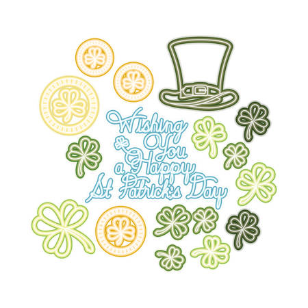 wishing you a happy st patricks day label icons vector illustration desing