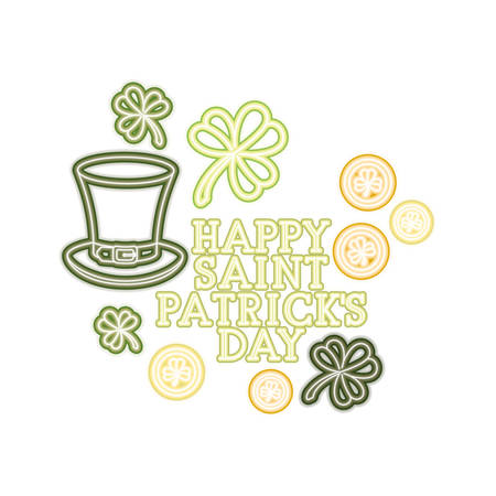 happy saint patricks day label with clover and elf hat vector illustration desing Illustration