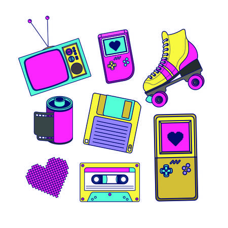 90s decade set icons vector illustration design 向量圖像