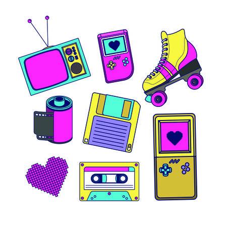 90s decade set icons vector illustration design Illustration