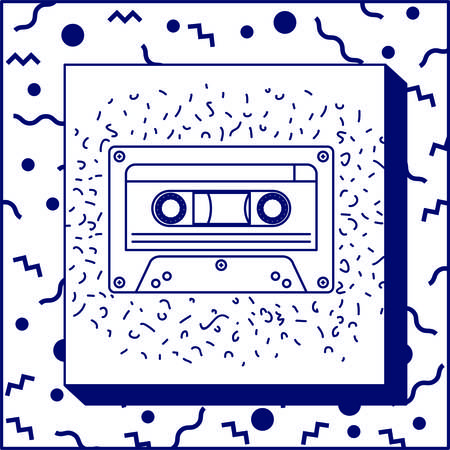 90s label with retro cassette vector illustration design