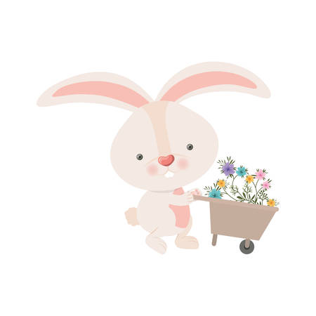 bunny with wheelbarrow and flowers isolated icon vector illustration desing