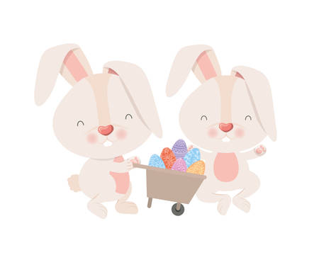 bunnies with wheelbarrow and easter eggs icon vector illustration desing