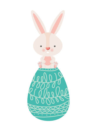 easter rabbit with egg isolated icon vector illustration desing Stock Illustratie