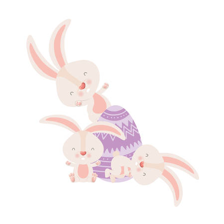easter rabbits with egg isolated icon vector illustration desing