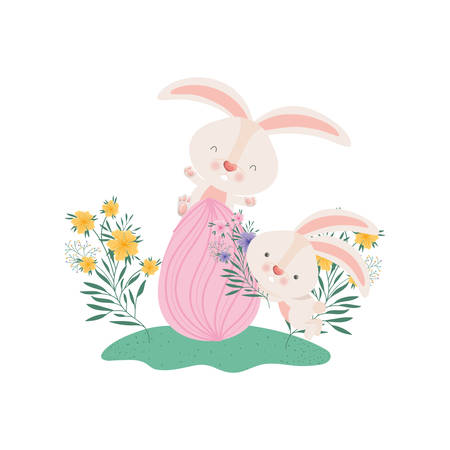 easter rabbits with egg and flowers icon vector illustration desing