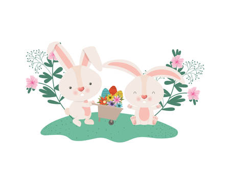 rabbits with wheelbarrow and easter eggs icon vector illustration desing Illustration