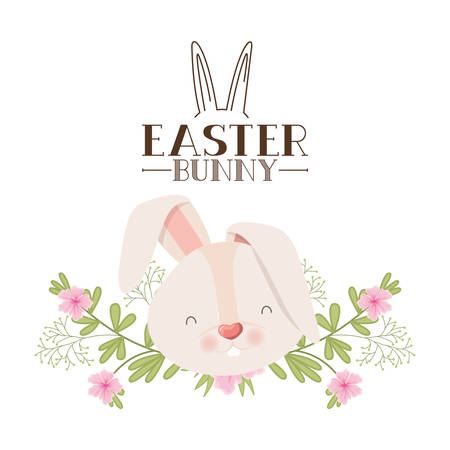 easter bunny label with flowers isolated icon vector illustration desing