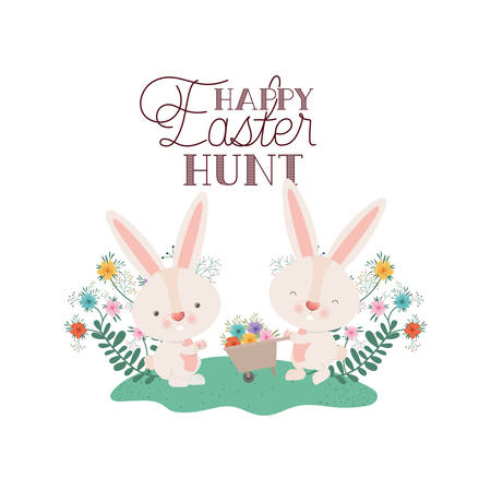 happy easter hunt label with egg and flowers icon vector illustration desing