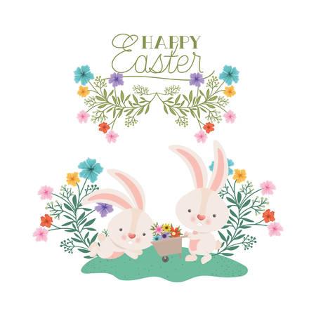 Frohe Ostern-Etikett mit Ei und Blumen-Symbol-Vektor-Illustration-Design Vektorgrafik