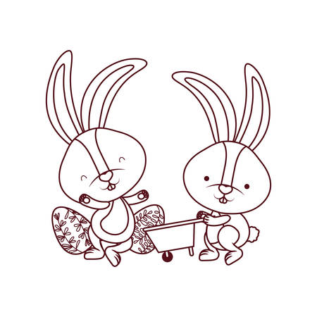 bunnies with wheelbarrow and easter egg icon vector illustration desing