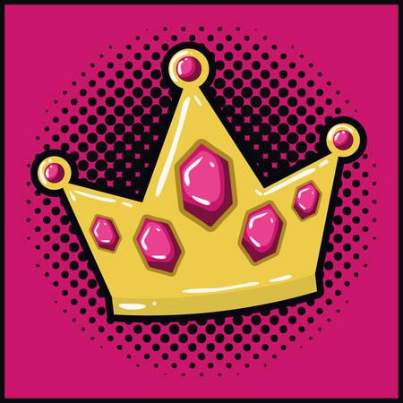 queen crown pop art style vector illustration design Vector Illustratie