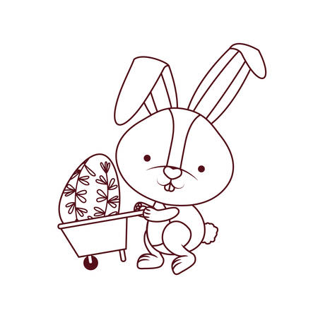bunny with wheelbarrow and easter egg icon vector illustration desing