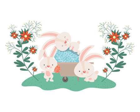 rabbits with wheelbarrow and easter egg icon vector illustration desing